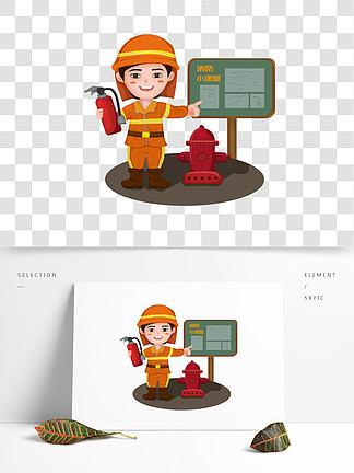 灭火器卡通人物设计素材免费下载 灭火器卡通人物设计图片 千图网平面设计