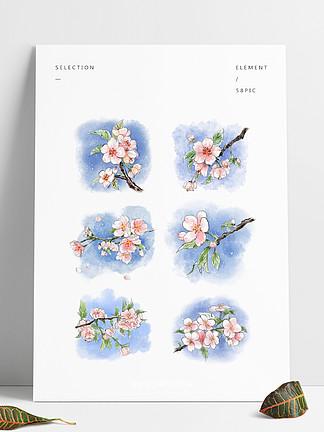 水彩套图樱花植物花朵小清新春天手绘风桃花