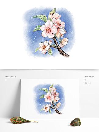 水?#35270;?#33457;植物花朵小清新春天手绘风桃花水墨