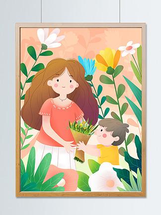小清新鮮花背景母親節孩子給媽媽獻花親子