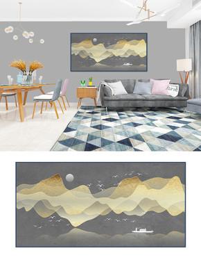 新中式抽象意境山水画装饰画