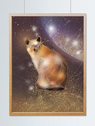 动物复古风猫咪独特透明感插画