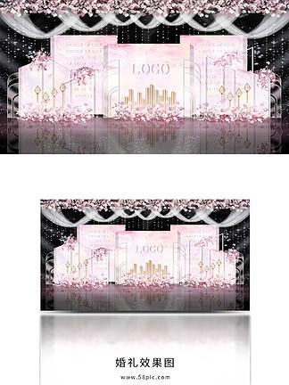 温馨浪漫粉色粉金主题婚礼