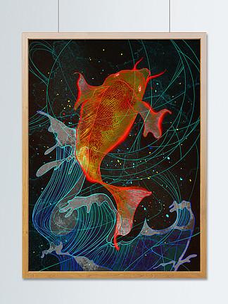 獨特透明感錦鯉好運鯉魚原創空氣海浪插畫