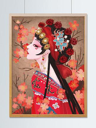 國潮京劇花旦古風傳統服飾插畫