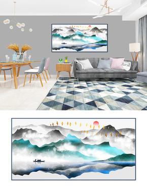 手绘新中式质感抽象意境山水画装饰画