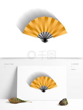 金色的扇子装饰素材