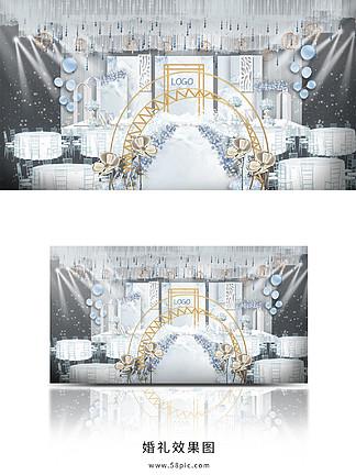 雾霾蓝大理石婚礼主舞台效果图
