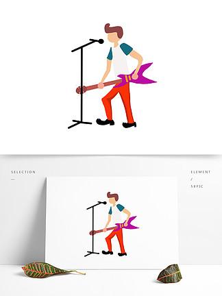 国际爵士乐卡通扁平化唱歌人物