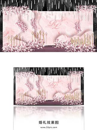 温馨甜美浪漫唯美粉色粉主题婚礼留影区设计