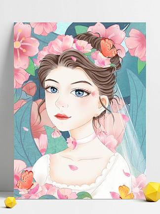 蓝色彩绘浪漫唯美花丛中婚纱女孩背景设计