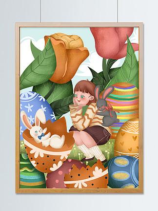 復活節女孩和兔子可愛創意插畫