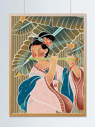 国潮古代女子?#26723;?#23376;中国风国画