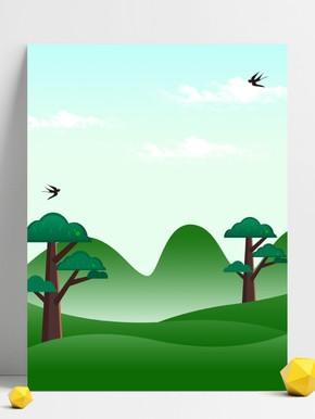 绿草地鲜花 春天背景图片