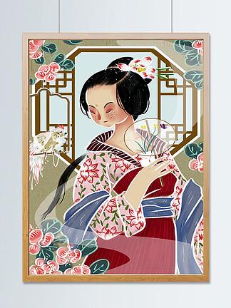 国潮古代女子戏鸟中国风国画