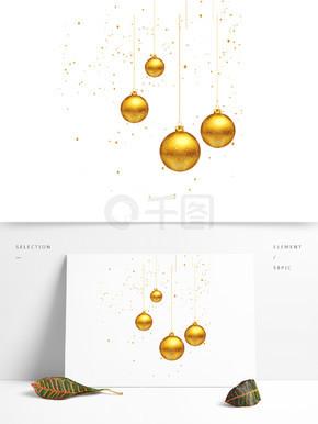 金色的圆球装饰素材