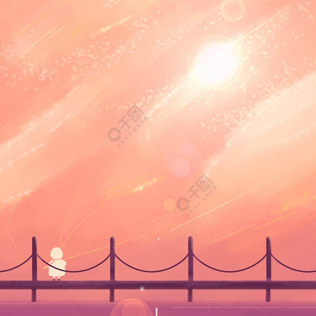 五月你好橙色插画女孩简约手机用图