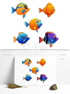 卡通游戏2D鱼类免扣矢量图