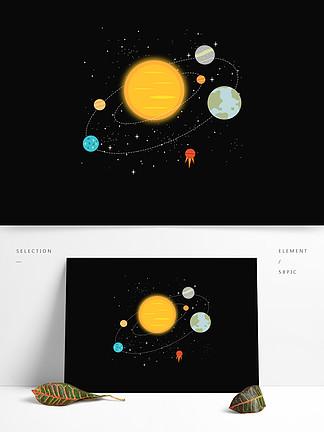 手绘卡通扁平化太阳地球星球宇宙元素