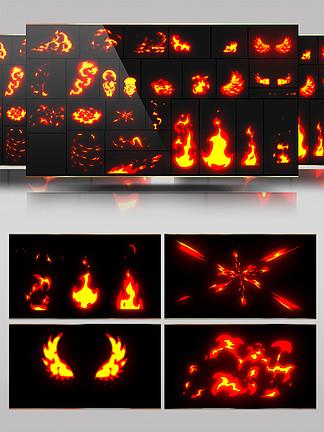 卡通火焰燃烧带通道AE模板