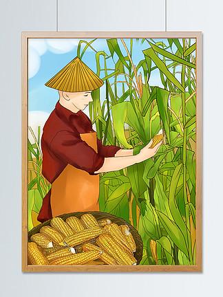 插画芒种?#30423;?#32654;男子在玉米田收玉米