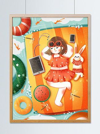 夏天夏至立夏節氣海報海邊游泳女孩創意插畫