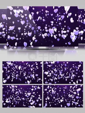 紫色唯美婚礼婚庆水晶爱心粒子飞升