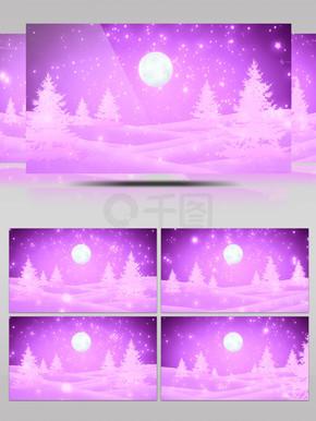 紫色粒子雨松树月亮浪漫舞台背景