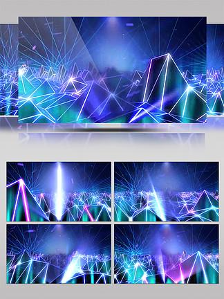 4K科技几何动感冷色舞台led空间背景