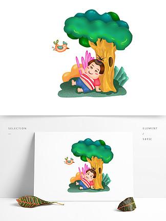 可商用高清手绘立夏树下纳凉场景纳凉