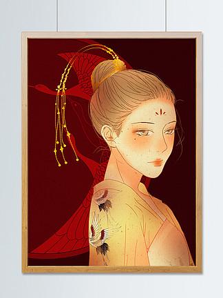 国潮中国风古典唐代半身仕女图