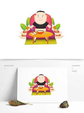 可商用高清手绘各种胖子不运动