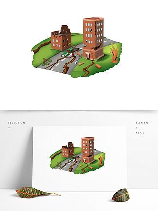 可商用高清手绘地震场景设计大地震