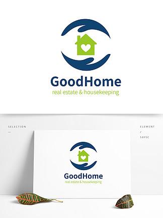 原创绿色温馨环保地产logo模板