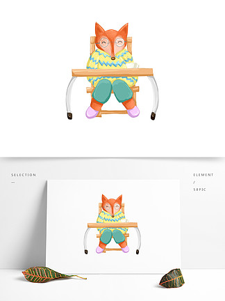卡通可愛辦公的胖狐貍擬人手繪可商用