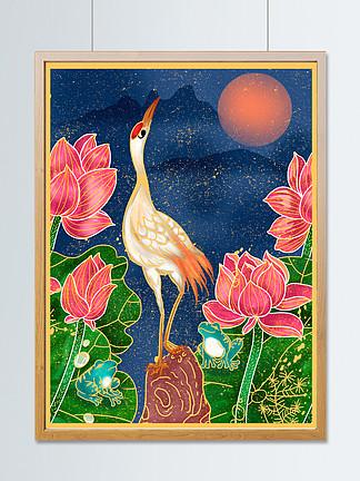 国潮中国风荷花仙鹤青蛙水珠蝌蚪插画海报