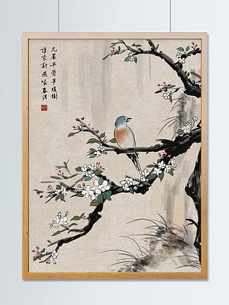 国潮复古中国画花鸟春莺水墨商业插画