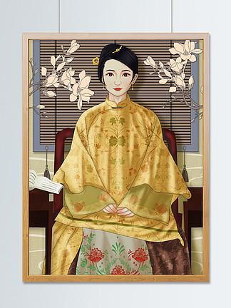 原创手绘插画国潮古代女子坐在椅子上看书