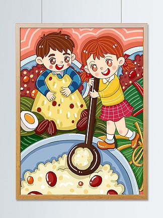原创卡通端午节可爱小朋友包粽子儿童插画