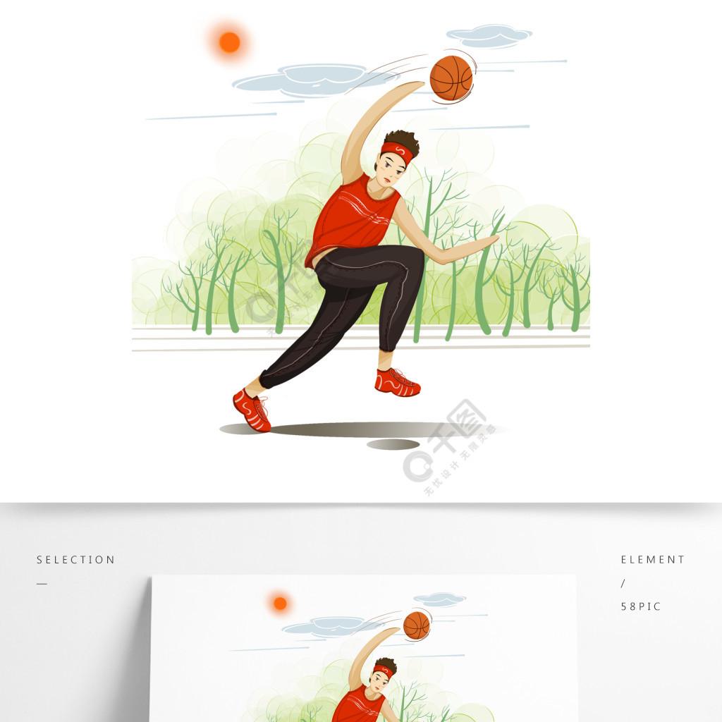青年节元素阳光下篮球运动的男生