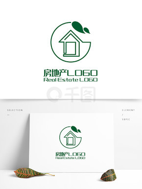 原创简约G字叶子房子房地产LOGO标志