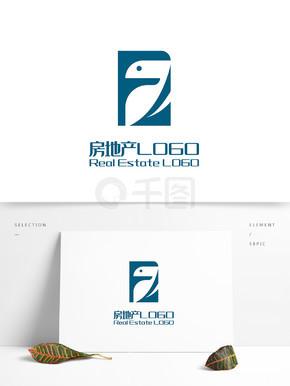 原创创意简约大气F字鸟房地产LOGO标志