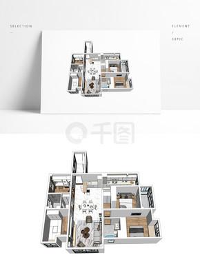 室内样板房透视SU模型
