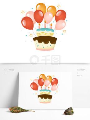 礼花气球生日?#26696;?#25163;绘卡通装饰元素