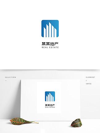 蓝色简约房地产logo设计
