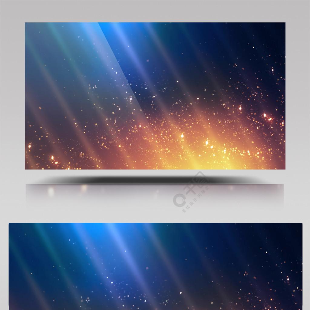 金色粒子在蓝色背景光线闪烁的动态背景视频