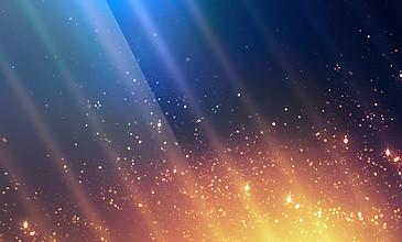 金色粒子在蓝色背景光线?#20102;?#30340;动态背景视频