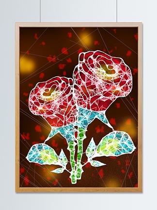 原创独特透明质感花朵插画