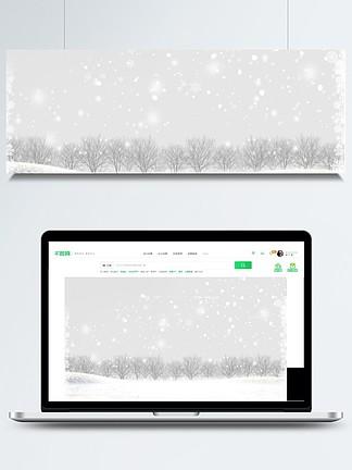浪漫唯美冬季雪地雪景背景