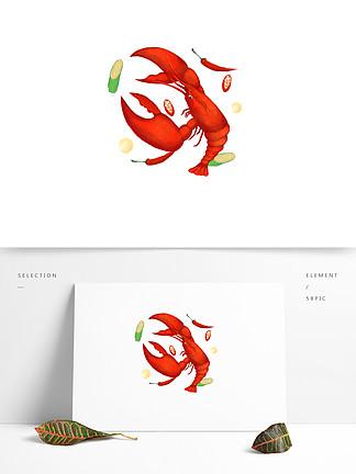 可商用小龍蝦手繪風美食元素